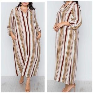 Plus Size Striped Maxi Blouse Or Dress